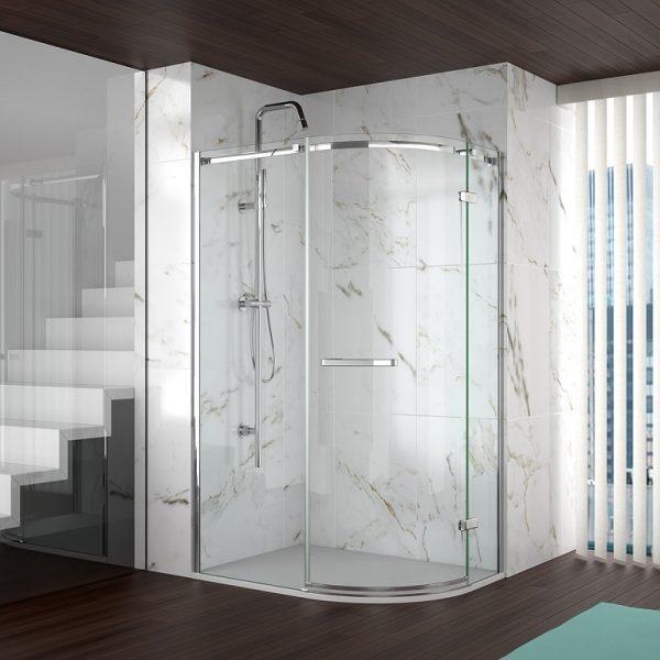 Merlyn 8 Series Frameless Door Offset Shower Quadrant Shower Enclosure