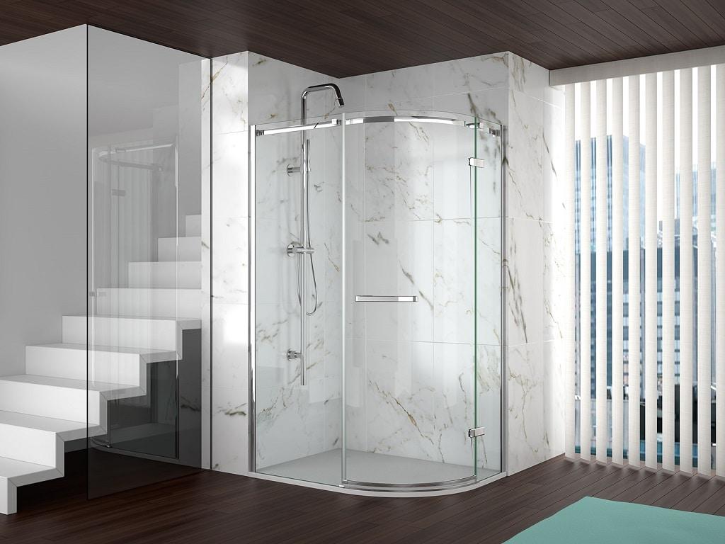 Merlyn 8 Series Frameless Door Offset Shower Quadrant Shower
