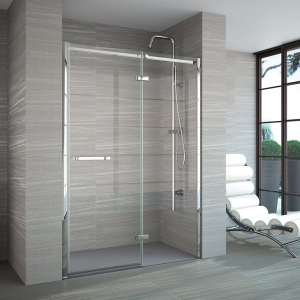 Merlyn 8 Series Frameless Hinge & Inline in a Recess Shower Enclosure