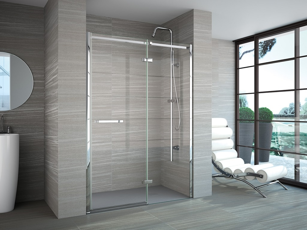 Merlyn 8 Series Frameless Hinge & Inline in a Recess Shower ...