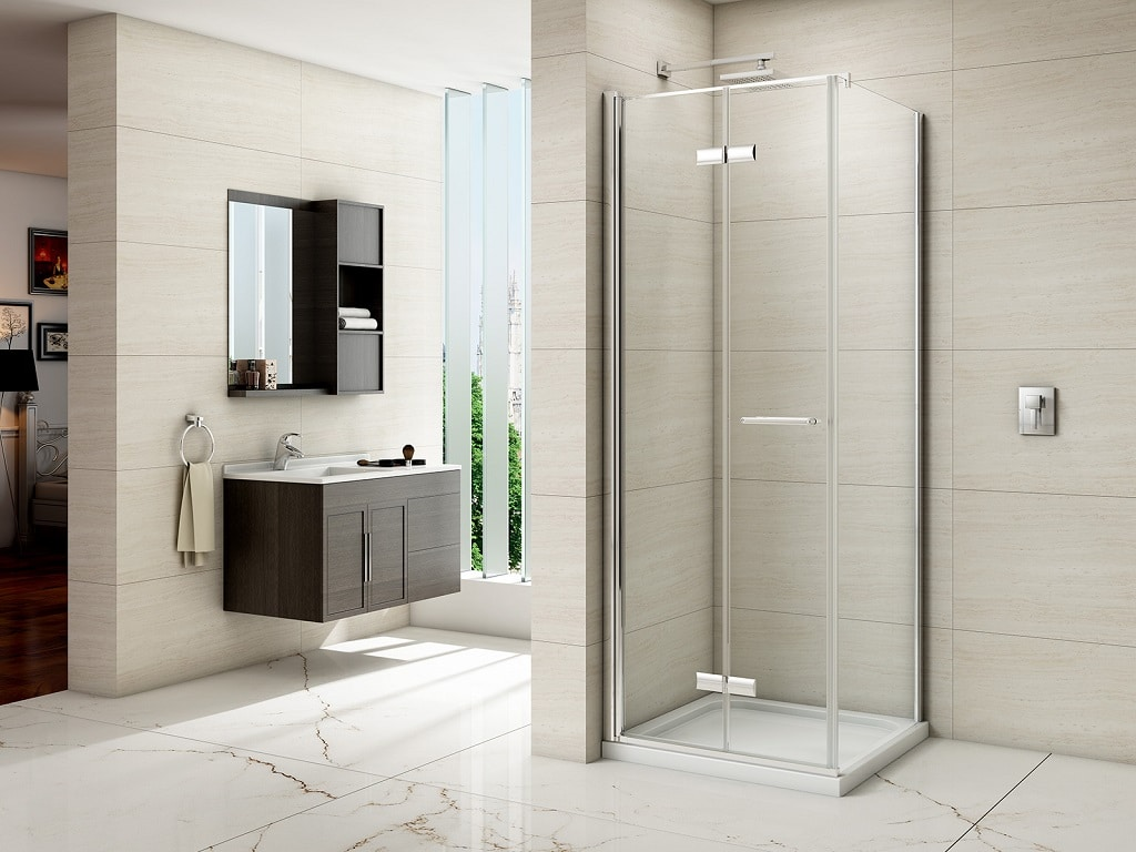 Merlyn 8 Series Frameless Hinged Bifold Door Shower