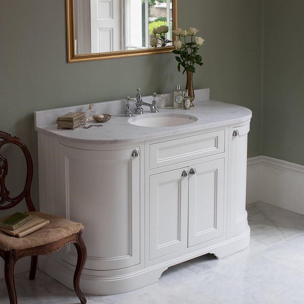 remarkable curved front bathroom vanity   Burlington 134 Curved Vanity Units – BATHHOUSE